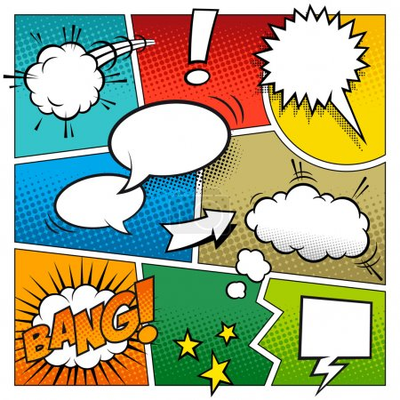 Illustration for A high detail vector mockup of a typical comic book page with various speech bubbles, symbols and sound effects and colored Halftone Backgrounds. - Royalty Free Image