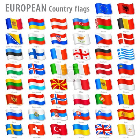 Vector Europe National Flag Set
