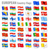 Vector Collection of all European National Flags in simulated 3D waving position with names and grey shadow Every Flag is isolated on its own layer with proper naming