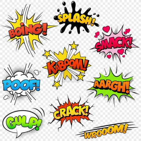 Illustration for Collection of nine multicolored comic sound Effects - Royalty Free Image