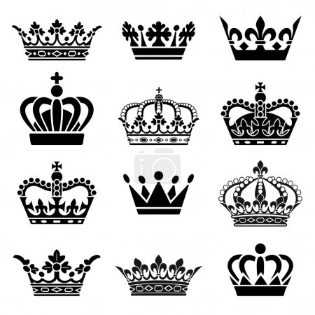 Illustration for Set of 12 Crown Illustrations. Every crown is isolated on a different layer. - Royalty Free Image
