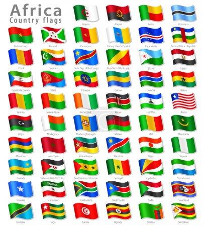 Illustration pour Collection vectorielle de tous les drapeaux nationaux africains, en position d'agitation 3D simulée, avec noms et ombre grise. Chaque drapeau est isolé sur sa propre couche avec un nom approprié . - image libre de droit