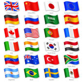 Vector Collection of 24 Top World Countries National Flags in simulated 3D waving position with names and grey shadow Every Flag is isolated on its own layer with proper naming