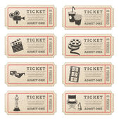 Eight hi quality vector cinema tickets Each ticket is orgenized in 3 layers separating background from art and text