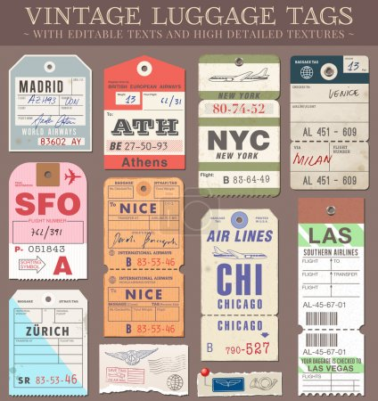 Illustration for A set of high detail grunge Passport and Luggage Tags, Tickets and stamps - Royalty Free Image