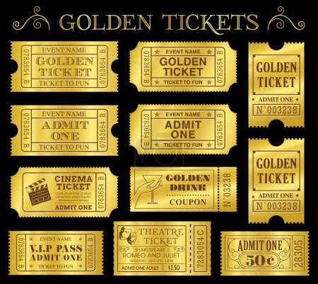 Illustration for Set of eleven golden vector tickets and coupons templates. Vector file is organized in layers to separate Graphic elements from texture and text. - Royalty Free Image