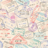 A seamless texture composed by passport stamps illustrations of a grunge paper background