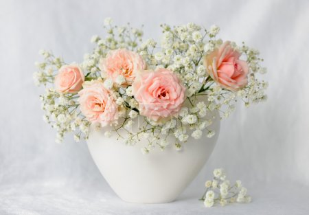 Photo for Vase with beautiful pink roses - Royalty Free Image