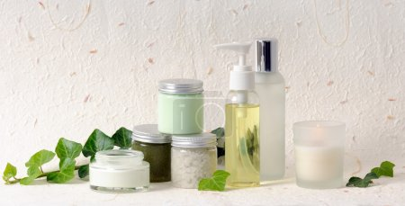 Still life with cosmetics with ivy...
