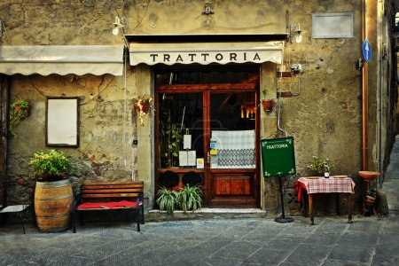Entrance of old italian restaurant in Tuscany...