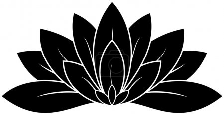 Illustration for Illustration of great lotus silhouette - Royalty Free Image