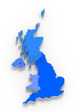 Photo pour 3D carte bleue de la Grande-Bretagne sur blanc isolé - image libre de droit