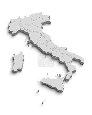 Photo pour Italie carte blanche sur blanc isolé - image libre de droit