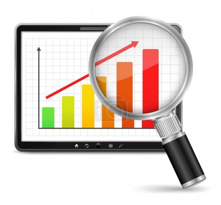 Illustration for Magnifying glass showing growing bar graph on the screen of tablet computer, vector eps10 illustration - Royalty Free Image