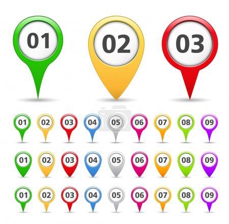 Illustration pour Marqueurs de carte avec numéros, illustration vectorielle eps10 - image libre de droit