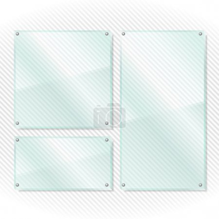 Transparent glass boards on white background, vect...