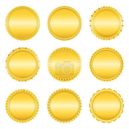 Illustration pour Jeu d'étiquettes dorées sur fond blanc, illustration vectorielle eps10 - image libre de droit