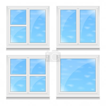 Illustration for Set of different with blue sky, vector eps10 illustration - Royalty Free Image