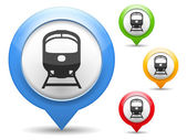 Map marker with icon of a train vector eps10 illustration