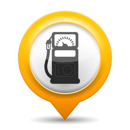 Illustration pour Épinglette de carte orange avec icône d'une station-service, illustration vectorielle eps10 - image libre de droit