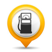 Orange map pin with icon of a gas station vector eps10 illustration