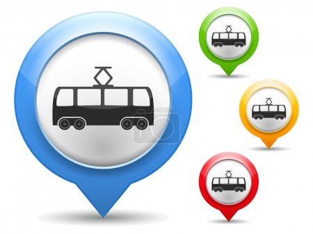 Illustration for Map marker with icon of a tram, vector eps10 illustration - Royalty Free Image
