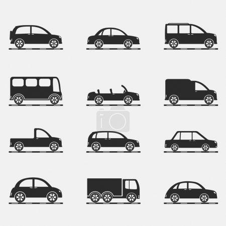 Illustration pour Ensemble d'icônes de différentes voitures, vecteur eps10 illustration - image libre de droit