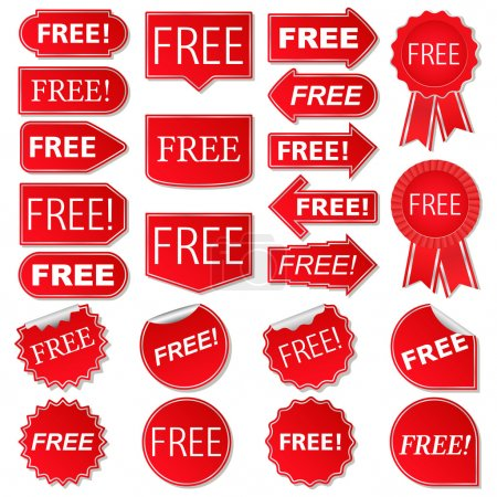 Illustration for Free labels, collection of red stickers, vector eps10 illustration - Royalty Free Image