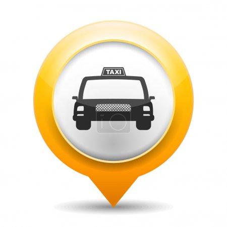 Illustration pour Marqueur de carte orange avec icône d'un taxi, illustration vectorielle eps10 - image libre de droit
