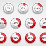 Red progress indicators set, vector eps10 illustra...