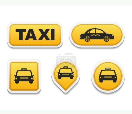 Illustration pour Ensemble d'icônes et boutons de taxi, illustration vectorielle eps10 - image libre de droit
