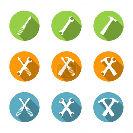 Illustration for Tools icons set, flat design, screwdriver, wrench and hammer, vector eps10 illustration - Royalty Free Image