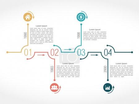 Illustration pour Modèle de conception infographique chronologique avec numéros, icônes, dates et texte, illustration vectorielle eps10 - image libre de droit