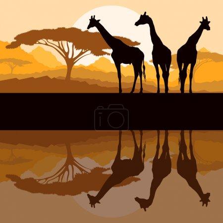 Illustration pour Girafe silhouettes familiales en Afrique nature sauvage montagne paysage arrière-plan illustration vecteur - image libre de droit