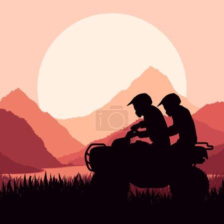 All terrain vehicle quad motorbike riders vector