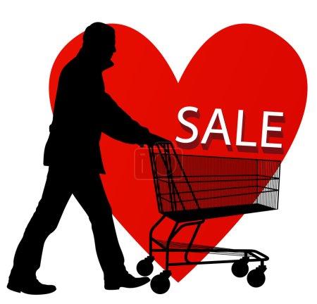 Illustration pour Concept de vente à prix réduit fond vectoriel avec l'homme, panier et coeur rouge - image libre de droit