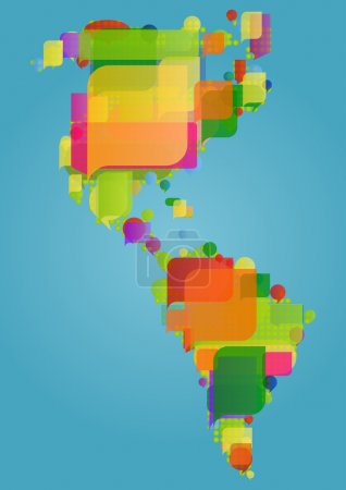 North, south and central America continent world map made of col