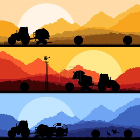 Agriculture tractors making hay bales in cultivate...