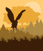 Swooping eagle attacking in forest vector background