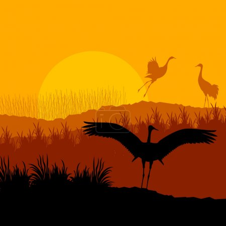Illustration for Crane flying in wild mountain nature landscape background - Royalty Free Image
