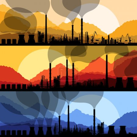 Illustration for Oil refinery station background vector and harbor - Royalty Free Image