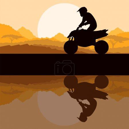All terrain vehicle quad motorbike rider in wild nature