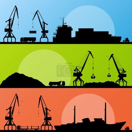 terenów przemysłowych portu, statki, transport i żuraw pobrzeże