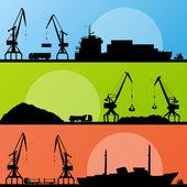 Industrial harbor ships transportation and crane seashore land
