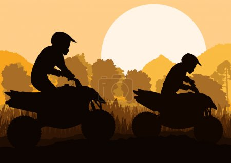 All terrain vehicle quad motorbike rider vector background