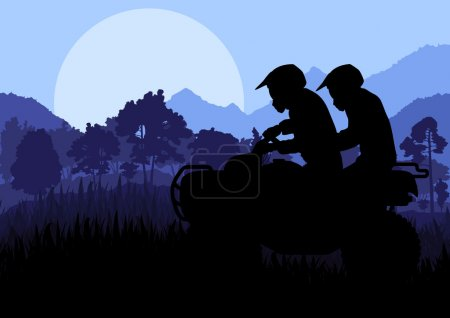 All terrain vehicle quad motorbike rider vector background