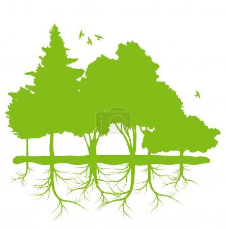 drzewa z korzeniami tło wektor planecie ekologii