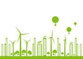 Green ecology city landscape vector background