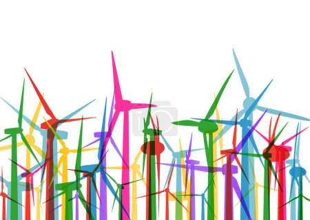 Wind electricity generators grass ecology concept illustration