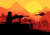 Army soldier with helicopters guns and transportation in wild d
